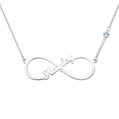 Custom Single Name Infinity Necklace with Birthstone in Silver