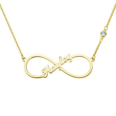 Custom Single Name Infinity Necklace with Birthstone in Gold