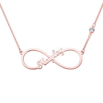 Custom Single Name Infinity Necklace with Birthstone in Rose Gold