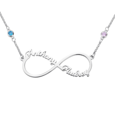 Personalized Infinity Two Name Necklace in Silver
