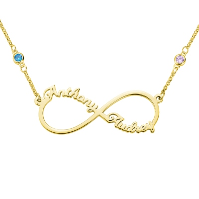 Personalized Infinity Two Name Necklace in Gold