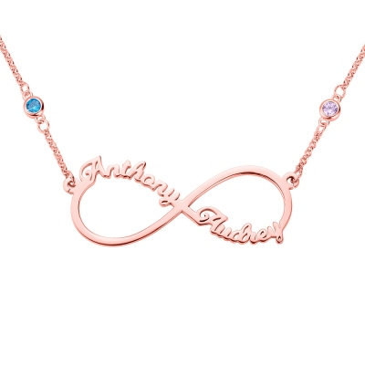 Personalized Infinity Two Name Necklace in Rose Gold