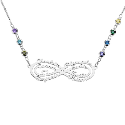 Personalized 7 Names Infinity Necklace with Birthstone in Silver