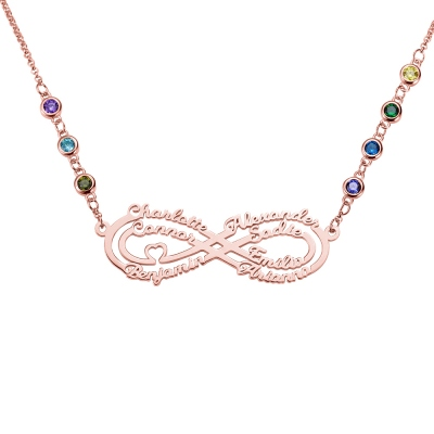 Personalized 7 Names Infinity Necklace with Birthstone in Rose Gold