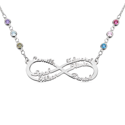 Personalized 6 Names Infinity Necklace in Silver