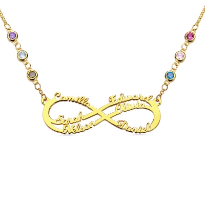 Personalized 6 Names Infinity Necklace in Gold