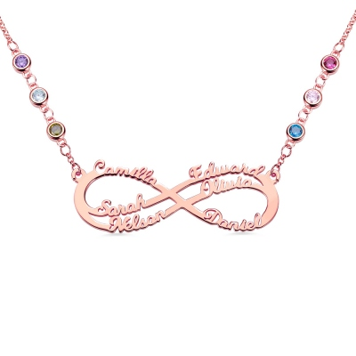 Personalized 6 Names Infinity Necklace in Rose Gold