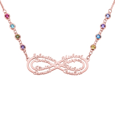 Personalized 8 Names Infinity Necklace in Rose Gold