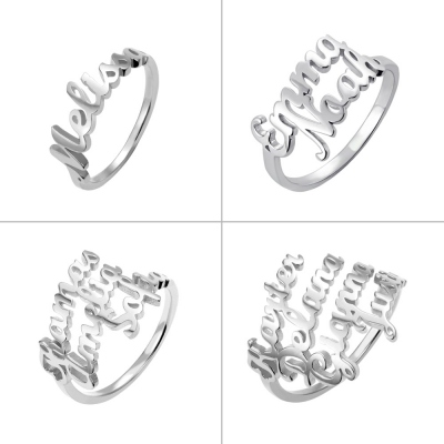 Customized Multiple Name Ring in Silver