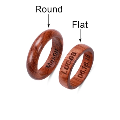 Engraved Wood Wedding Ring