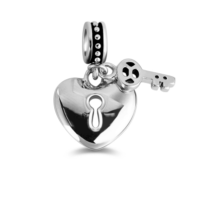 Silver Heart Lock and Key Charm