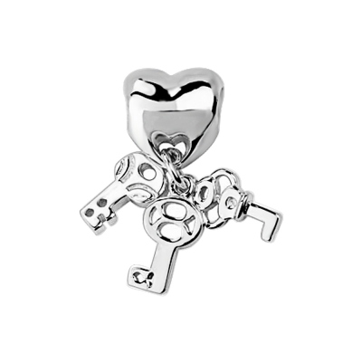 Silver Heart Lock With Three Key Charm