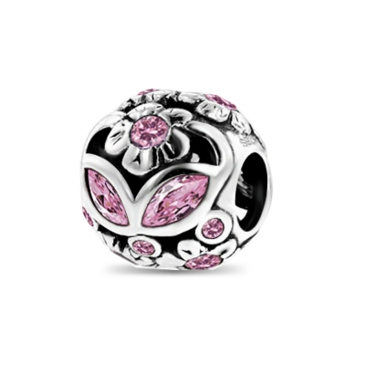 Romantic Flower Charm With Pink CZs