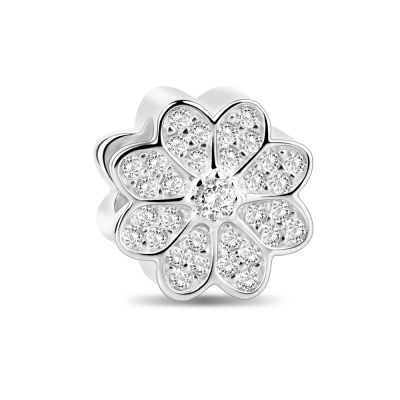 Sterling Silver Sparkling Flower Charm