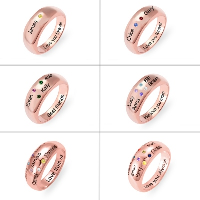 Personalized Names Ring with Birthstones in Rose Gold