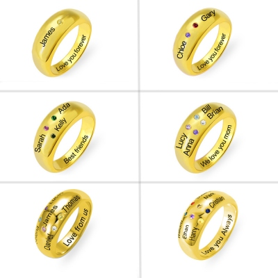 Personalized Names Ring with Birthstones in Gold