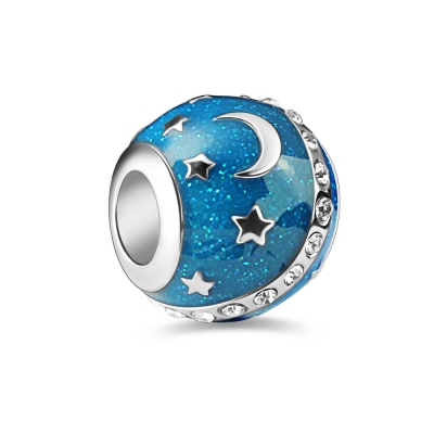 Moon and Star Bead Sterling Silver