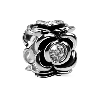 Silver Rose Charm with Crystal