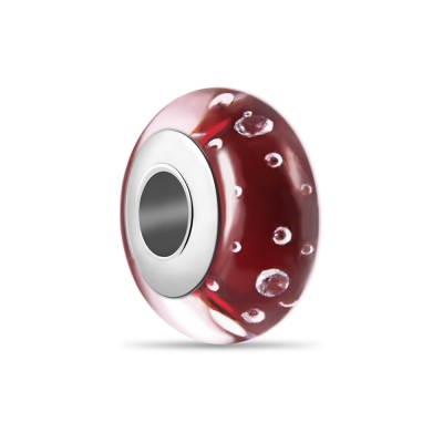 Red Bubble Murano Glass Bead Sterling Silver