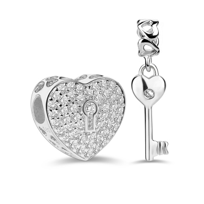 Silver Heart Lock & Key Charms