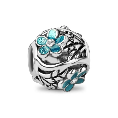 Silver Enamel Cherry Blossoms Bead