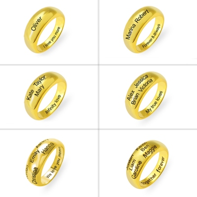 Personalized 1-6 Names Ring in Gold