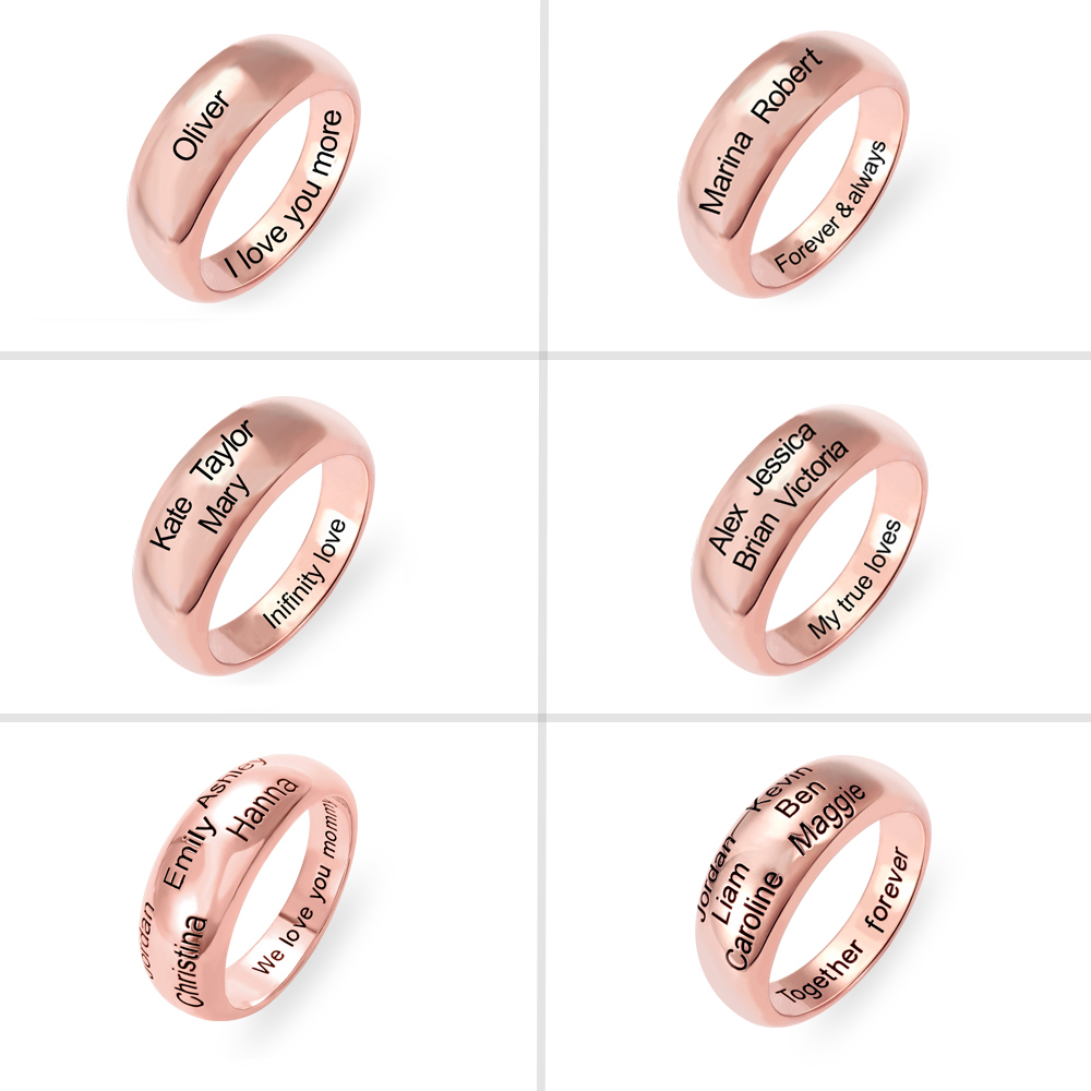 Personalized 1-6 Names Ring in Rose Gold