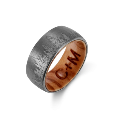 Engraved Wood Ring with Forest Trees Nature Ring for Men