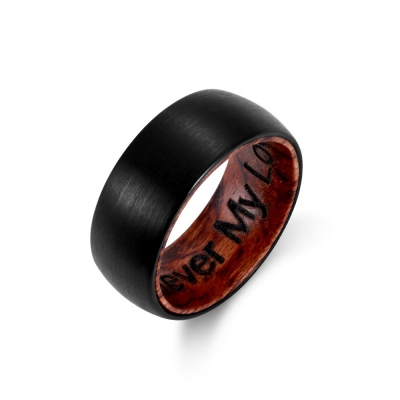 Engraved Black Wooden Ring for Men