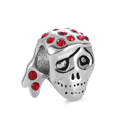 Red Diamonds Pirate skull Beaded in Silver