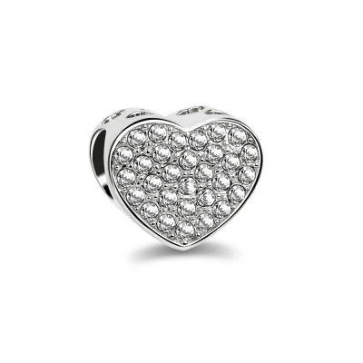 Heart Shape Sterling Silver Beaded Charm with Full Rhinestones
