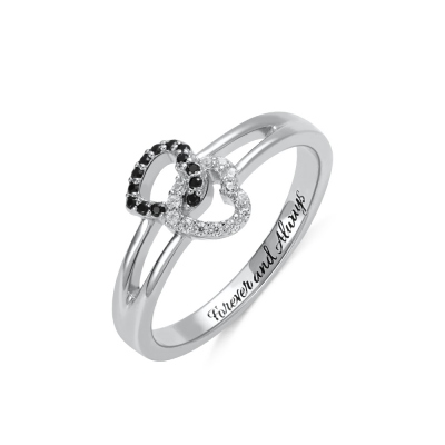Engraved Double Heart Ring with  Birthstones in Silver