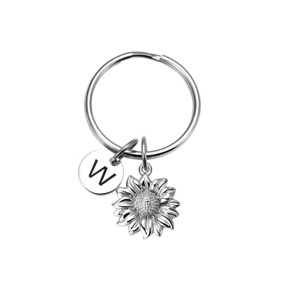 Personalized Stainless Steel Sunflower Key Chain