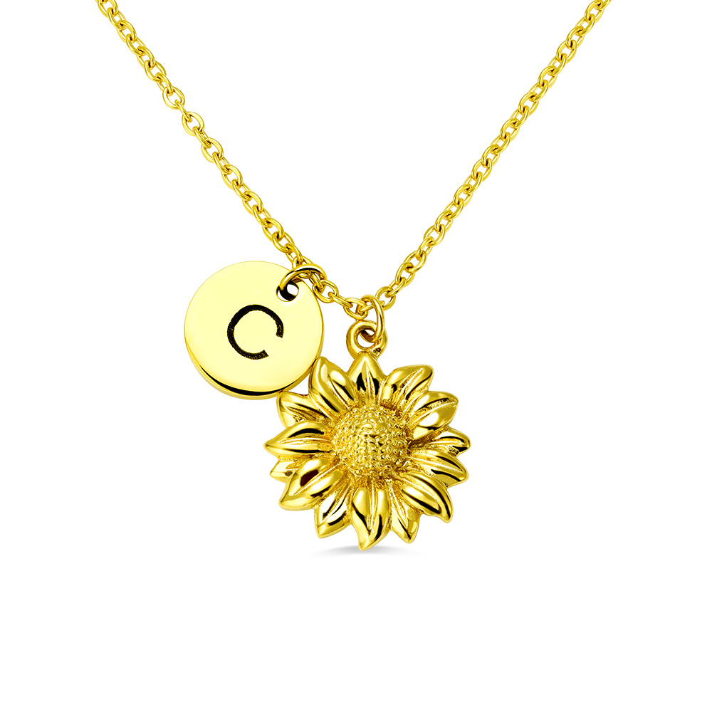 Personalized Sunflower Necklace with Initial