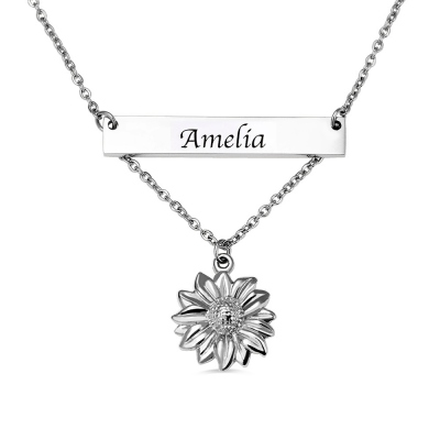 Personalized Sunflower Necklace with Bar in Silver