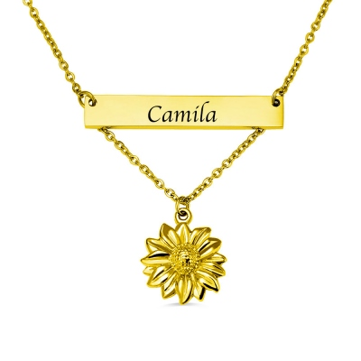 Personalized Sunflower Necklace with Bar in Gold