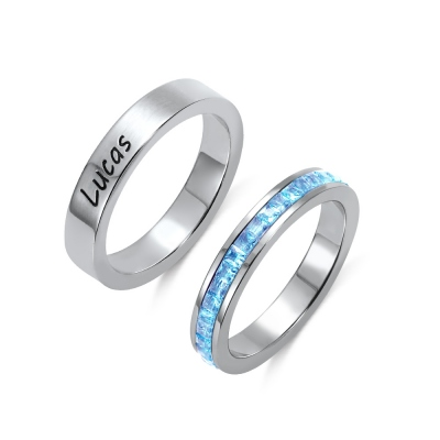 Personalized Stacking Birthstone Ring in Stainless Steel