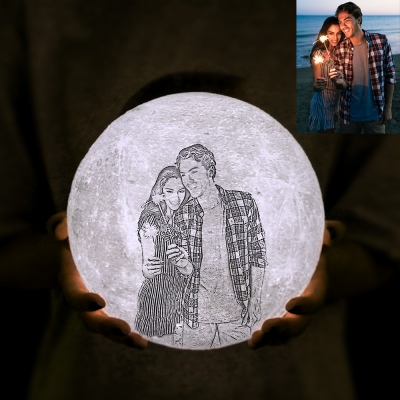 Customized Photo 3D Printing Moon Lamp Flashlight with Remote Touch Control