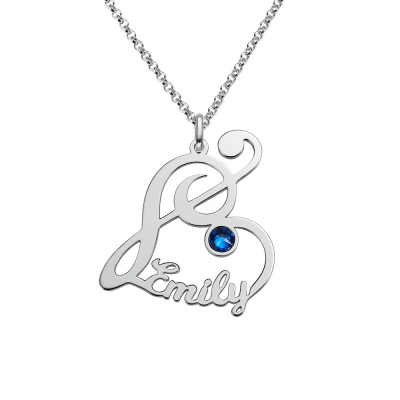 Personalized Treble Clef Name Necklace with Birthstone in Silver