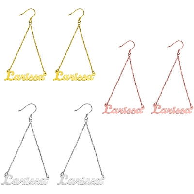 Personalized Triangle Name Dangle Earrings