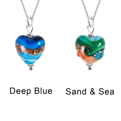 Personalized Sand & Sea Heart Pendant Necklace