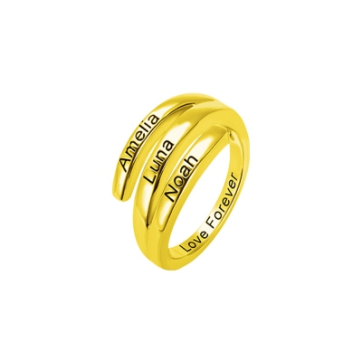Personalized 3 Names Sunbird Ring in Gold