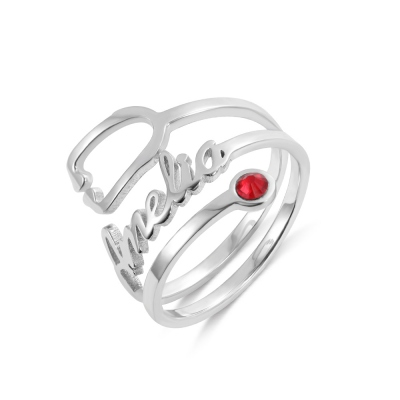 Personalized Name & Birthstone Stethoscope Ring in Silver