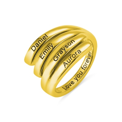 Personalized 4 Names Sunbird Ring in Gold