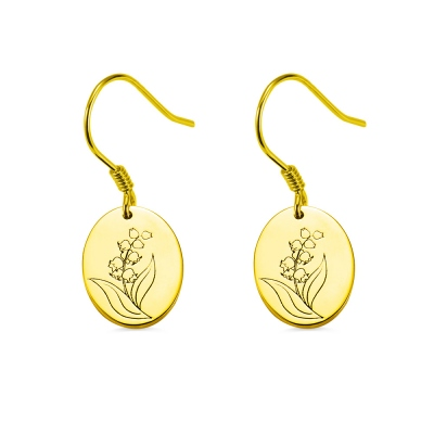 Engraved Birth Flower Earrings