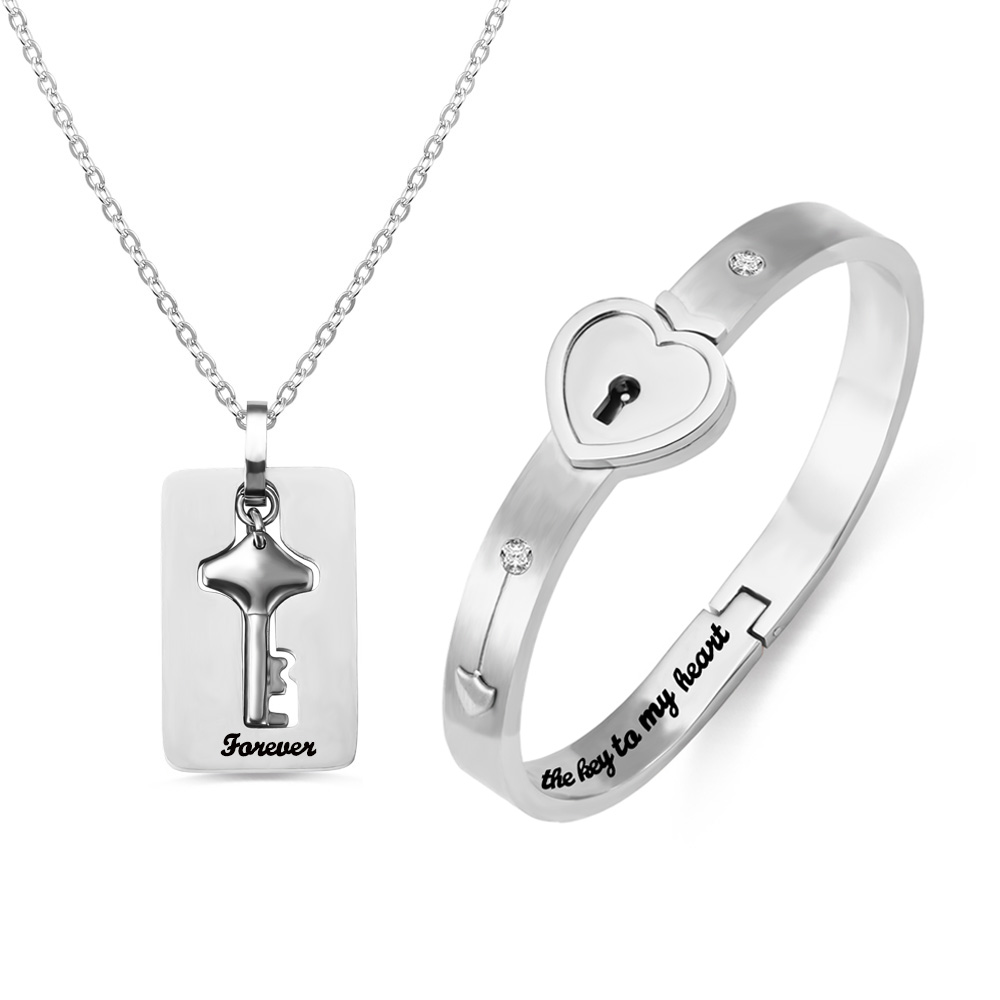 Personalized Couple's Bracelet And Key Necklace