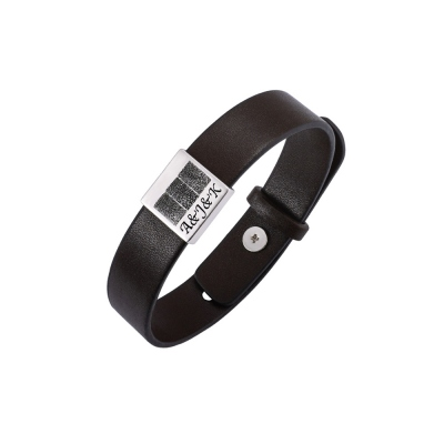 Personalized Men's Leather Bracelet with Three Fingerprints