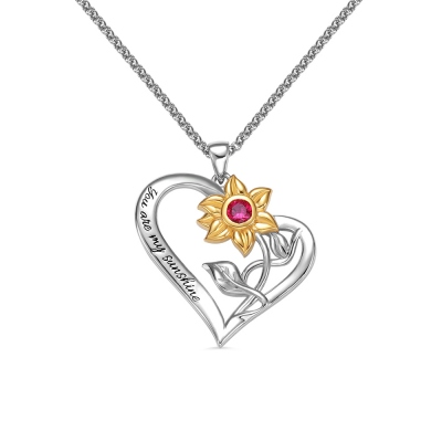 Personalised Heart Necklace with Sunflower