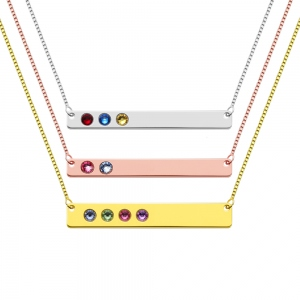 Personalized 1-10 Birthstones Bar Necklace