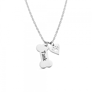 Personalized Dog Bone Necklace with Paw Print